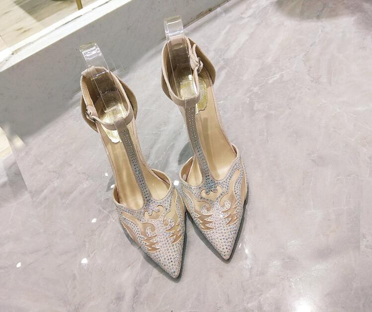 Sexy Black Mesh Women Shoes High Heels Pointed Toe T bar Ankle Strap Cut out Pumps Women Shoes Crystal Embellished Wedding Shoes in Women 39 s Pumps from Shoes