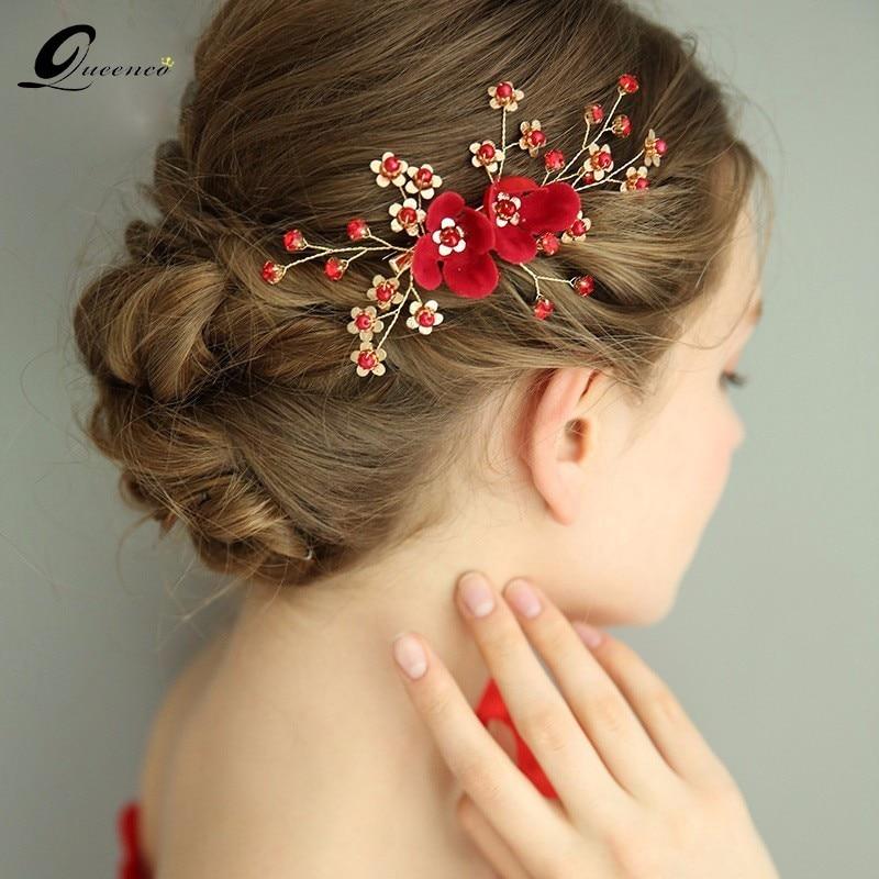 red flower bridal hair accessories