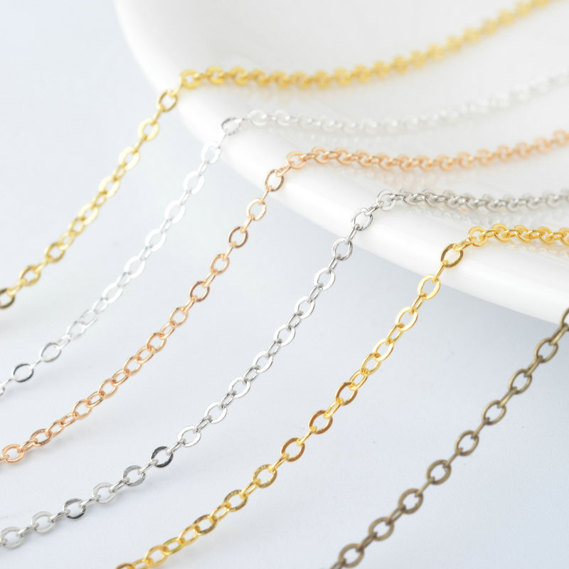 5 Meters width 1.5MM Gold Color Plated Copper Necklace Chain Flat Oval Link Chains For Jewelry Making Diy Jewelry Accessories
