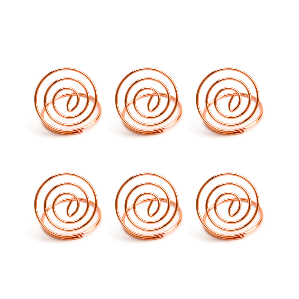 24 Pcs Table Number Holders Ring Shape Card Holder Circle Stereo Note Pad Menu Clips-scll Clips