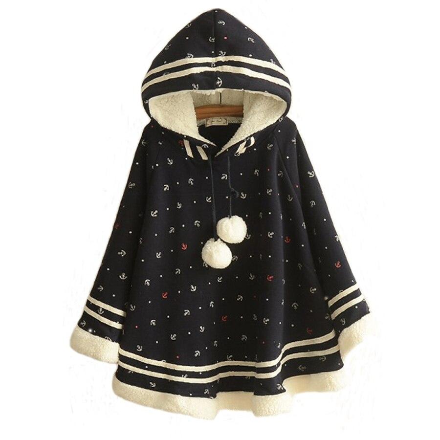 New Autumn Winter Female Plus Velvet College Bat Cloak Coat Women's Cotton Hooded Woolen Jacket Printed Casual Wool Overcoat