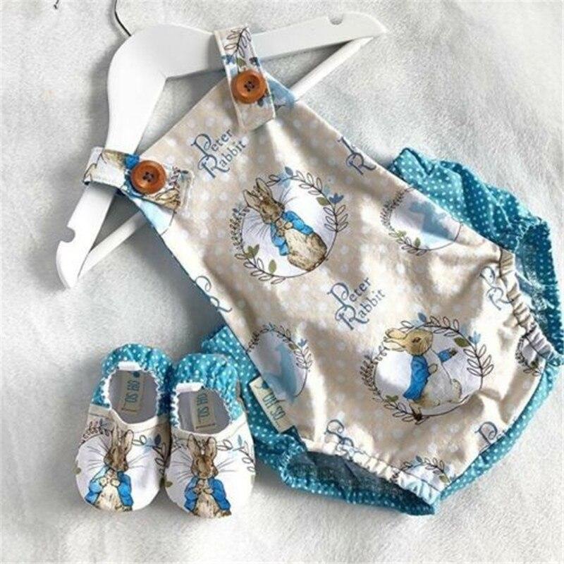 PUDCOCO Lovely Newborn Baby Girls Easter Rabbit Cartoon Sleeveless Romper Outfit Set Costume Sunsuit