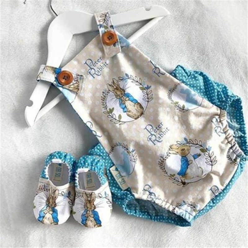 PUDCOCO hermoso para recién nacidos niñas conejo de Pascua de dibujos animados sin mangas traje pelele conjunto traje de sol
