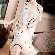 Spring and summer o-neck embroidery short sleeve loose comfortable straight long dress HJT5897C