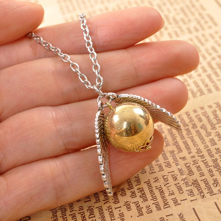 Wellcomics Harri Potter Quidditch Golden Snitch Ball Owl Wings Metal Necklace Chain Pendant Ornament Jewelry Cosplay Collection