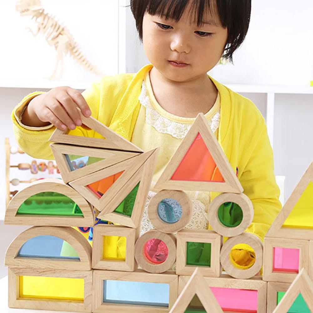 None Kids Creative Acrylic Rainbow Building Blocks DIY Wooden Stacking Tower Toys in Blocks from Toys Hobbies