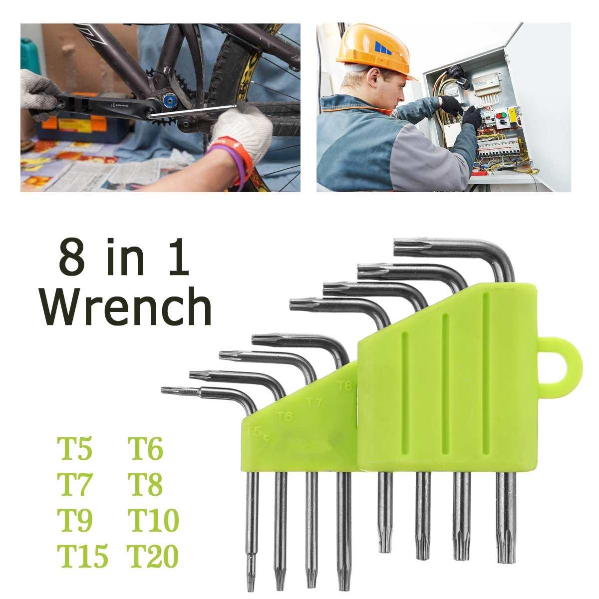 8Pcs Set Durable Metric Short Arm Torx Chrome Vanadium Key Star Wrench Hand Tool Screwdriver T5/T6/T7/T8/T9/T10/T15/T20