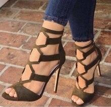 Black Heels Women Sandals Cut-out Stretch Fabric Ankle Wrap Super High Heel Gladiator Sandals Shoes Women Hollow Sandals Summer