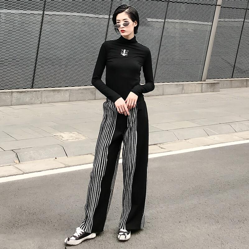 Black Y Elástico Casual Invierno Suelta Ancha Pantalones 2018 El La De Otoño Moda Largo Cintura Largos Femenina Nuevo Superaen Pierna CwXTHH