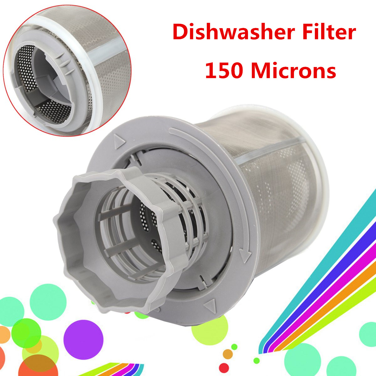 2 Part Dish Washer Mesh Filter Set Grey Inner Screen Filters Dish-washing Machine Replacement  for Kitchen Drains Tool Parts