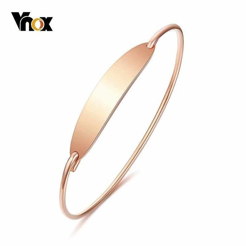Vnox Elegant Women's Bangle 585 Rose Gold Color Stainless Steel Girls Cuff Bracelet Female Party Jewels