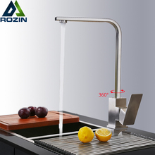 Brushed Nickel 360 Rotate Kitchen Faucet Deck Mount Hot Cold Mixer Tap for Kitchen Single Lever One Hole Bathroom Kitchen Crane