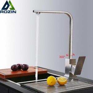 Image 1 - Mitigeur chaud froid, robinet de cuisine en Nickel brossé rotatif à 360 degrés montage sur pont, robinet pour cuisine à levier unique un trou, grue de cuisine salle de bains