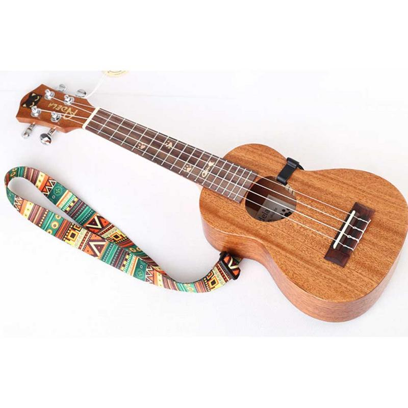 Ethnic Style Colorful Ukulele Strap Thermal Transfer Ribbon Durable Little Guitar Belt Musical Instrument Accessories Adjustable