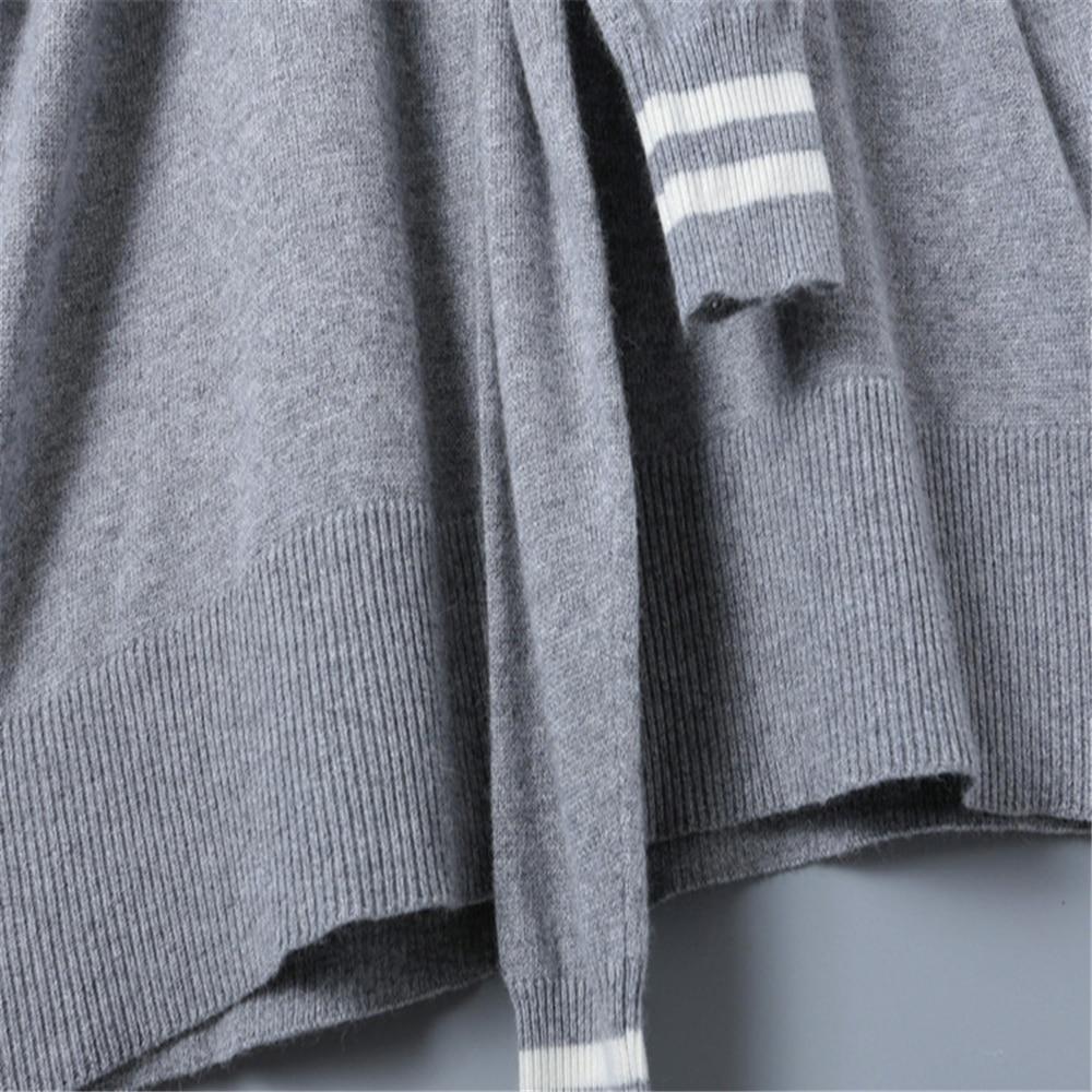 Capuchon Lacets Nouvelle À Tricot Deux Robe Longues Pull Automne 2019 Grey Étiquettes De Faux En Manches Luxe Bagage Hiver Pièces RpqzZw0