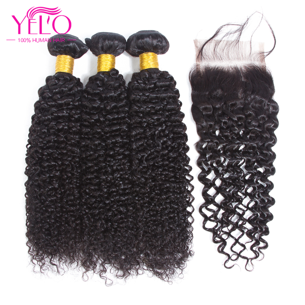 YELO Hair Malaysian Afro Kinky Curly Human Hair Weave Non Remy Hair Extensions 100% human hair color1B# 3 Bundles With Closure