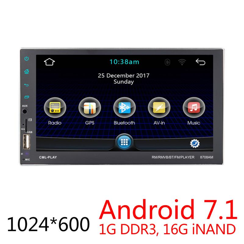 Universal DC12V 2 DIN 71080P Touch Screen QUAD-core Android 7.1 Phone Mirror Link GPS Navigation Bluetooth Player DVD PlayerUniversal DC12V 2 DIN 71080P Touch Screen QUAD-core Android 7.1 Phone Mirror Link GPS Navigation Bluetooth Player DVD Player