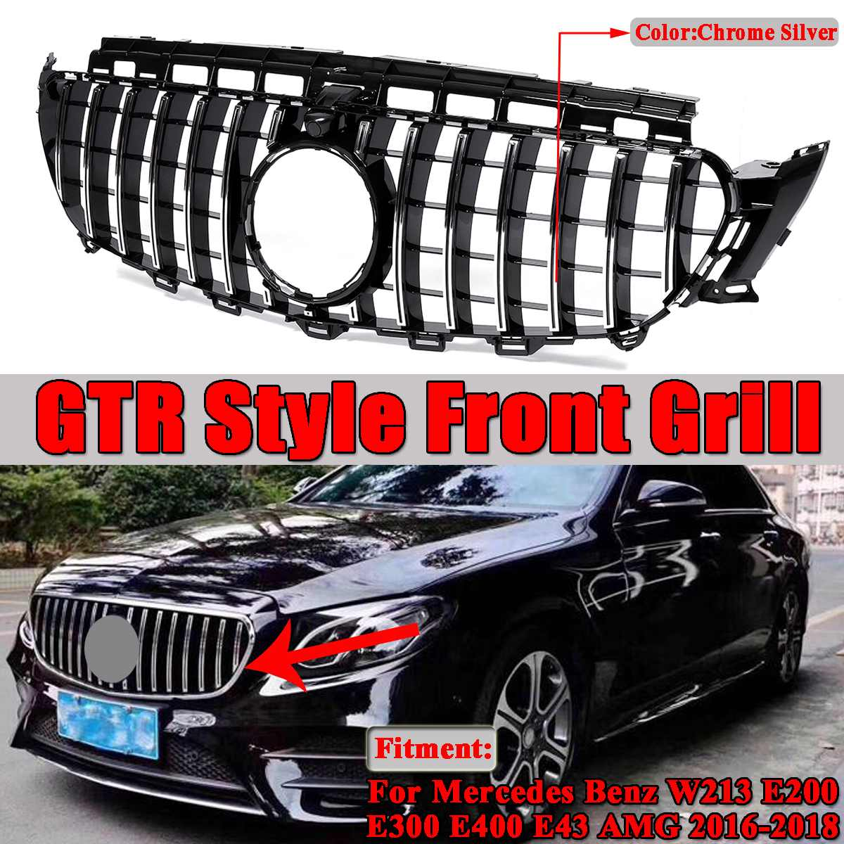 1x GT R / Diamond Style W213 Grlil Car Front Grille For Mercedes For Benz W213 E200 E300 E400 E43 For AMG 2016 2017 2018 2019 image