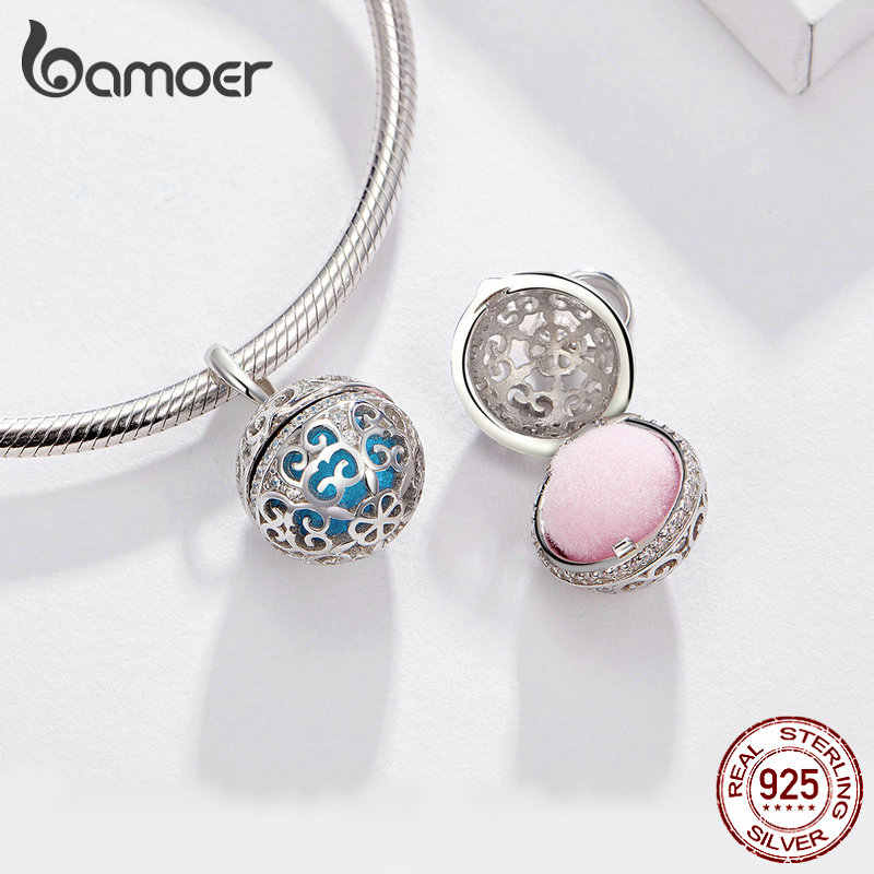 BAMOER Perfume Locket Pendant Charm for Snake Bracelet Necklace Real 925 Sterling Silver Silver Cage with Two Felt Ball SCC1198