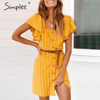 Simplee винтажное Полосатое платье с оборками с коротким рукавом женское летнее платье на пуговицах плюс размер короткое vestidos повседневное пр...