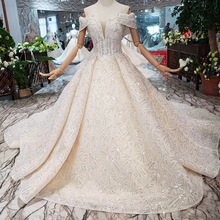 One-word shoulder custom flash lace wedding dress champagne luxury handwork sequins bride gown
