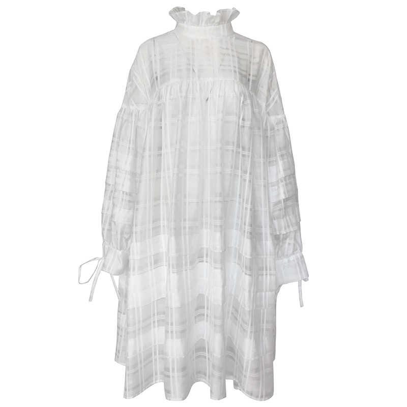 LANMREM модное повседневное женское платье из двух частей весна-лето 2019 Новое Женское платье с белым фонариком и длинным рукавом женская одежда YG636