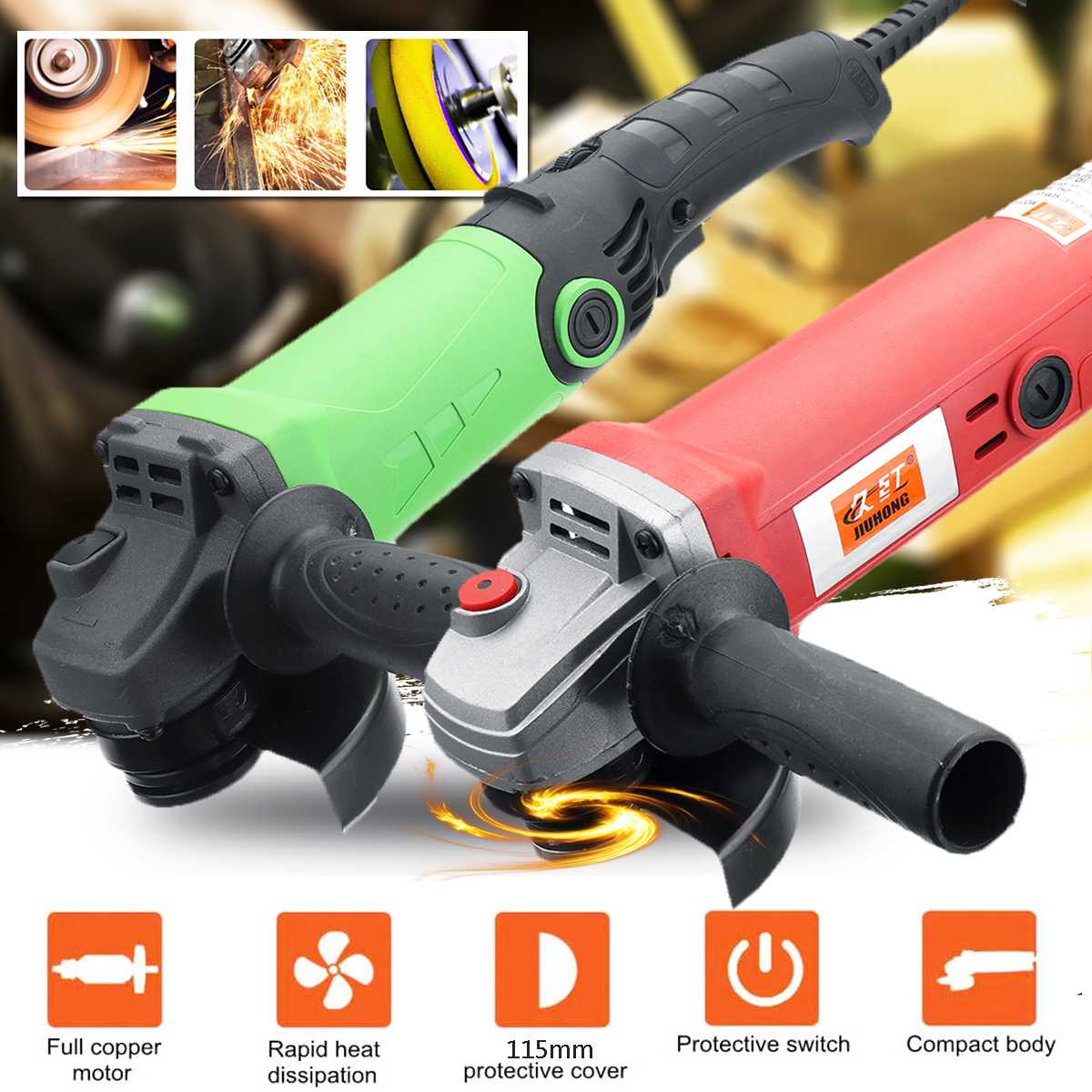 Electric Angle Grinder 1350/980W 115/100mm Adjustable Speed Metal Cutting Tool 220V EU Plug 360 Rotation Adjustable Anti slip