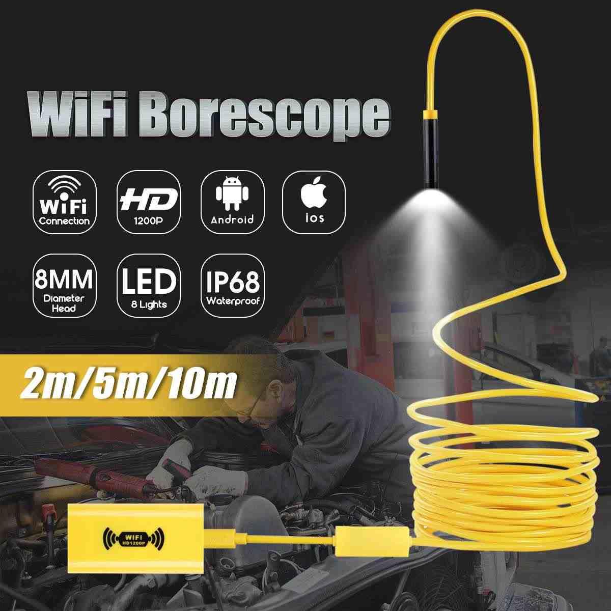 2/5/10 メートル無線 LAN 内視鏡カメラ HD 1200 1080p ミニ防水ハードケーブル検査カメラ USB 内視鏡 8LED ボアスコープアンドロイド Ios 用