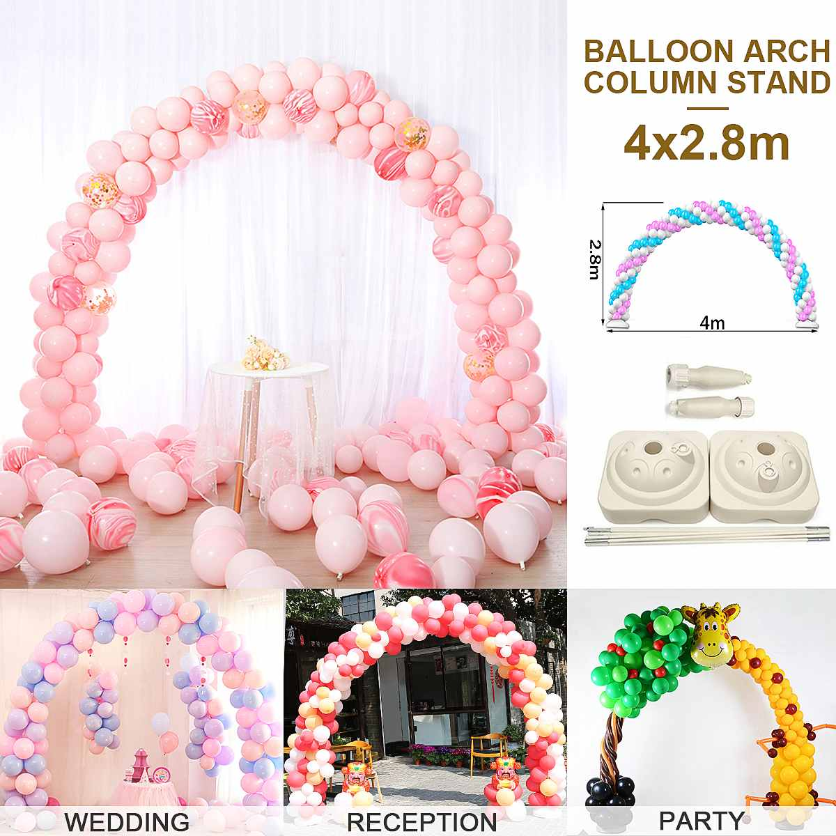 4M Large Balloon Arch Stand Base Pot Kit Clip Connector Adjustable Wedding Party Arches <font><b>Support</b></font> Display DIY Decoration Supplies image