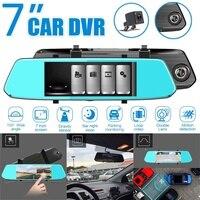 7 inch Full HD 1080P Dual Lens Car DVR Digital Video Recorder G sensor Auto Registrator Dash Cam + Rearview Backup Cameras