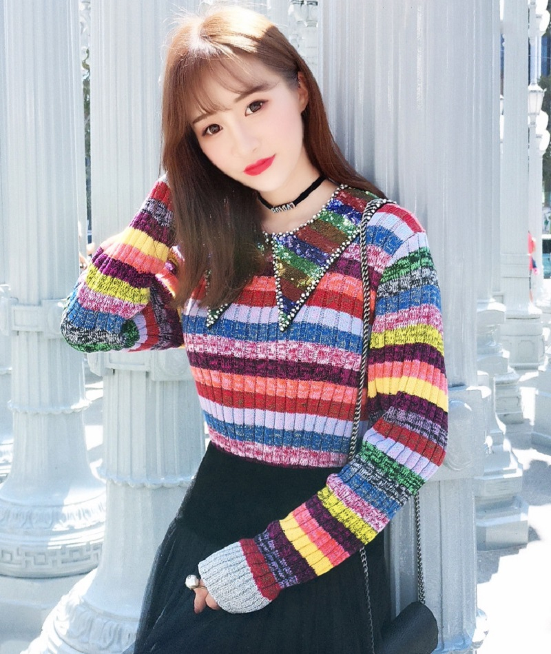 2019 Winter Luxury Rainbow Sequins Neck Women Sweater Pullovers Runway Designer Striped Female Christmas Sweaters Jumper Clothes
