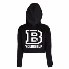 2019 new spring fashion Spring B YOURSELF Letters Printed Oneck Casual Pullover Womens Hoodie Crop Top D Sweatshirt
