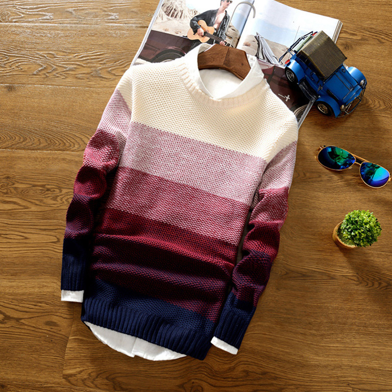 Fashion Mens Sweater Spring Autumn Men's O Neck Stripe Gradient Color Pullover Male Long Sleeve Breathable Knitted Sweater Top