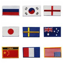 Japanese USA Flag Korea Canada Appliques Patchwork Patch Embroidered Patches For Clothing Iron On For Close Shoes Bags Badges(China)