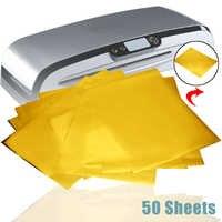 50 Sheets Hot Gold Heat Transfer Foil Paper Laser Printer Foil Papers for DIY Invitations Business Cards Calendars 12 x 8