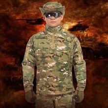 Na zewnątrz mężczyzna kamuflaż taktyczny Uniform garnitur armia fanów dziedzinie dżungli szkolenie bojowe wspinaczka Camping odzież sportowa koszula spodnie zestaw tanie tanio Koszule Camping i piesze wycieczki COTTON Poliester Pełna Suknem Oddychające POLARTEC ZK-0630 Pasuje prawda na wymiar weź swój normalny rozmiar