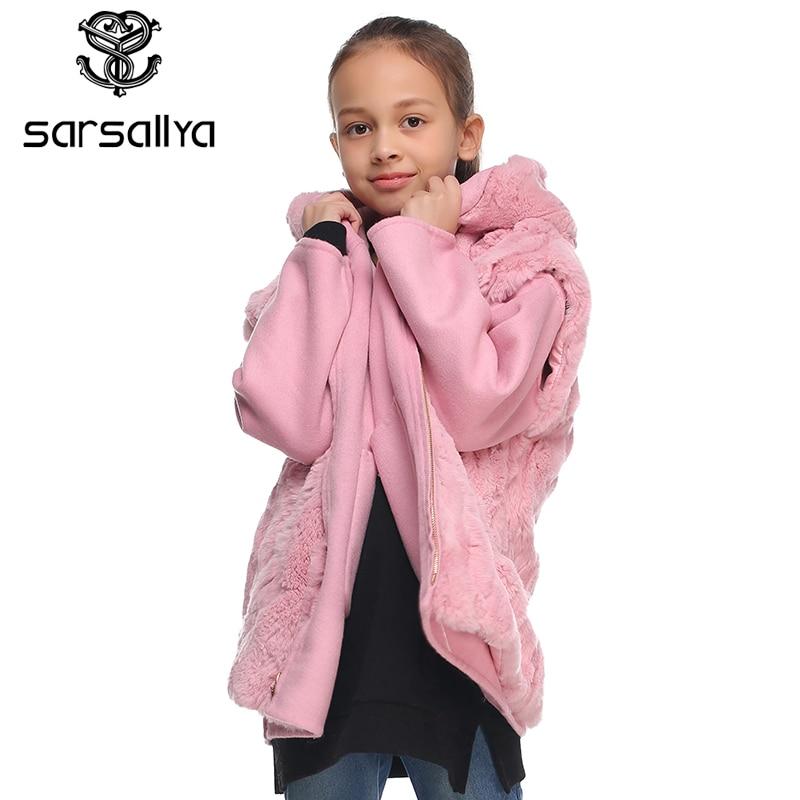 Sarsallya натуральным мехом с капюшоном куртка для мальчиков куртки для девочек зимняя куртка для мальчиков Детское пальто парка ветровка для м
