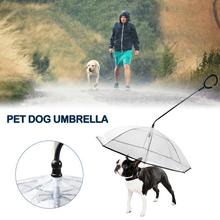 C-shaped Telescopic Handle Transparent Pet Umbrella With Dog Leashes Necklaces PE Rain Walking Tow Rope Dogs Lead Small Cat
