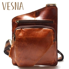 Vesna New High Quality Vintage Casual Crazy Horse Leather Genuine Cowhide Men Chest Bag Small Messenger Bags For Man стоимость