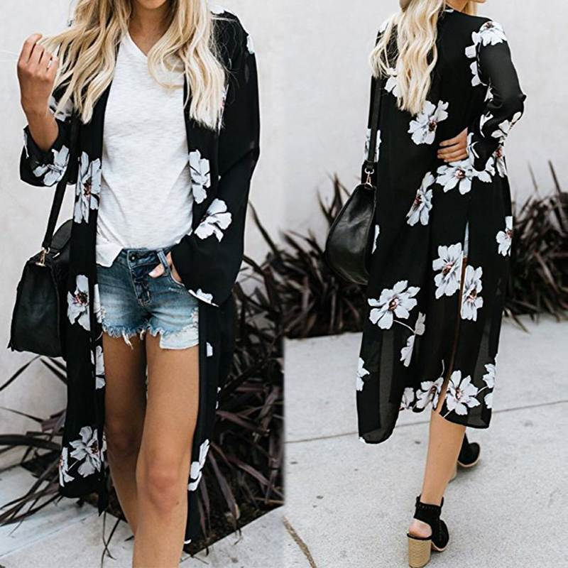 ZANZEA Womens Summer Holiday Beach Floral Casual Loose Kimono Cardigan Coat