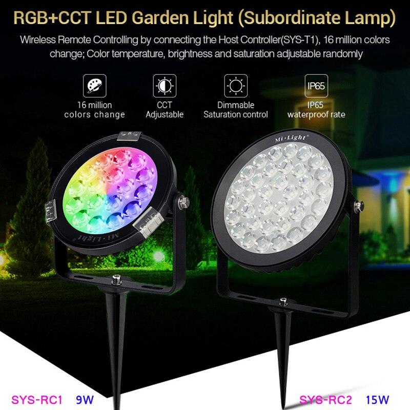 Led Lawn Lamps 2019 New Style Mi Light Waterproof Outdoor Led Garden Light Rgb Cct 9w Intelligent 2.4g Rf Wifi Dustproof Ac110v 220v Dc24v Led Landscape Light Led Lamps
