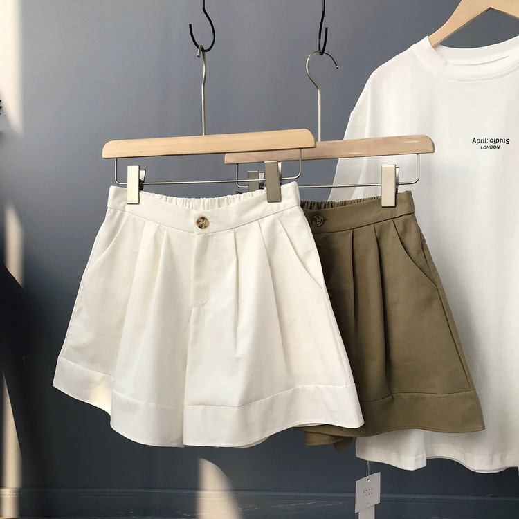 Summer Women Cogo Shorts Highwaist Khaki Black White Wide Casual Shorts Summer Hotpants