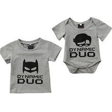 2019 New Cotton Fashion Family Newborn Kids Baby Boy Dynamic Duo Bodysuit T-shirt Cotton Clothes Baby Boy Clothes(China)