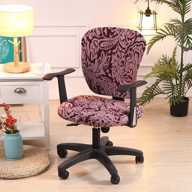1a704737be Printed Modern Spandex Computer Chair Cover 100%Cotton Elastic Fabric  Office Split Chair Cover Easy Washable Removeable