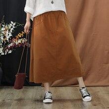 Women Fashion Skirt Mid-Calf Length Solid A-Line Cotton Empire Waist Casual 2019 Spring Summer цена и фото