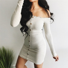European and American fashion women's dress long-sleeved solid color button off-shoulder evening party cotton mini dress