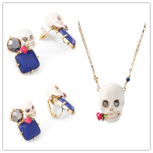 free shipping Enamel glaze Skull flower earrings ear clip necklace