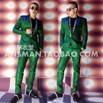 Hot 2020 new men's slim color blue singer flash Power desuit Suits plus formal dress dresses clothes