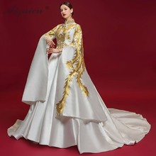 Luxury Embroidery Cheongsam Chinese Evening Dress 2019 Fashion Bell Sleeve Phoenix Qipao Modern Oriental Style Dresses White