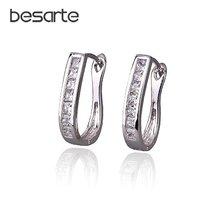 Женские серьги кольца с фианитами большие Ювелирное Украшение